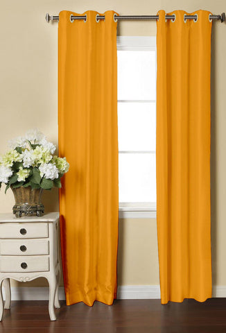 Lushomes Yellow Dupion Silk Curtain with 6 plastic eyelets (Pack of 2 pcs) for Doors - Lushomes