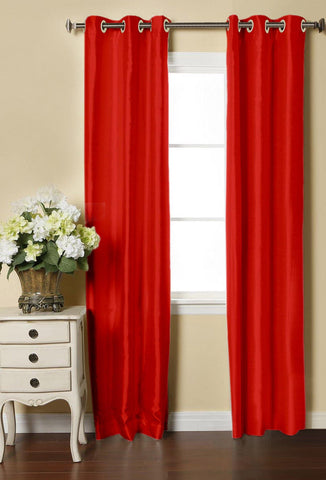 Lushomes Red Dupion Silk Curtain with 6 plastic eyelets (Pack of 2 pcs) for Doors - Lushomes