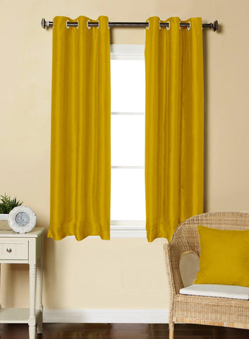 Lushomes Gold Dupion Silk Curtain with 6 plastic eyelets (Pack of 2 pcs) for Windows - Lushomes