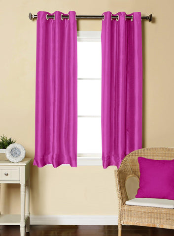 Lushomes Pink Dupion Silk Curtain with 6 plastic eyelets (Pack of 2 pcs) for Windows - Lushomes