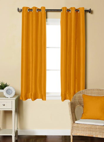 Lushomes Yellow Dupion Silk Curtain with 6 plastic eyelets (Pack of 2 pcs) for Windows - Lushomes