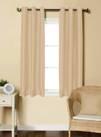 Lushomes Cream Dupion Silk Curtain with 6 plastic eyelets (Pack of 2 pcs) for Windows - Lushomes
