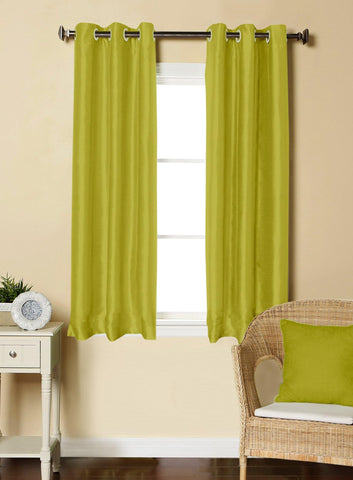 Lushomes Green Dupion Silk Curtain with 6 plastic eyelets (Pack of 2 pcs) for Windows - Lushomes