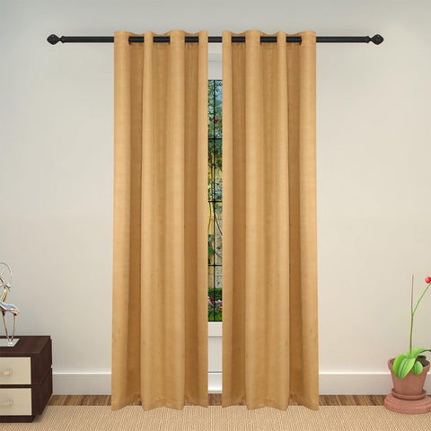 Lushomes Embossed Blackout Beige Curtain with 8 metal eyelets for Long Doors (Single pc pack) - Lushomes