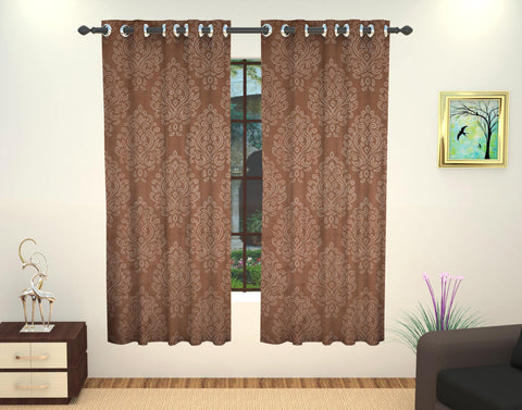 Lushomes Embossed Blackout Polyester Window Curtain - 5 feet, Brown - Lushomes