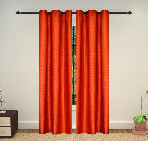 Lushomes Embossed Polyester Door Curtain - 7.5 feet, Orange - Lushomes