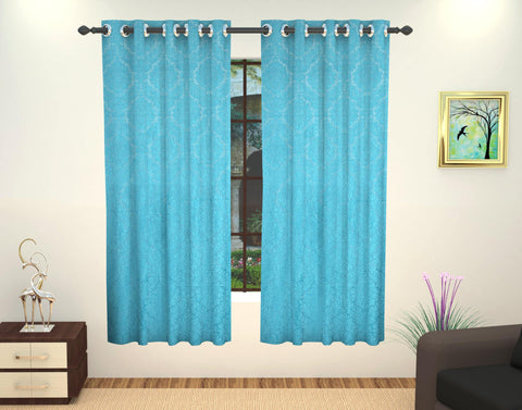 Lushomes Embossed Polyester Window Curtain - 5 feet, Blue - Lushomes