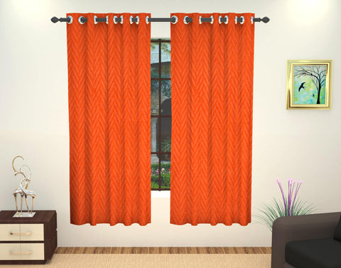 Lushomes Embossed Polyester Window Curtain - 5 feet, Orange - Lushomes