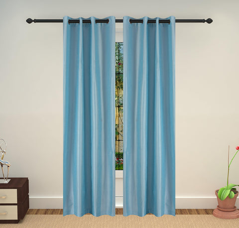 Lushomes Art Silk Polyester Lining  Door Curtain - 7.5 feet, Blue - Lushomes