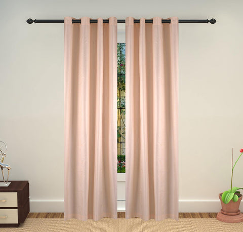 Lushomes Off - White Art Silk Long Door Curtain with Polyester Lining - Lushomes