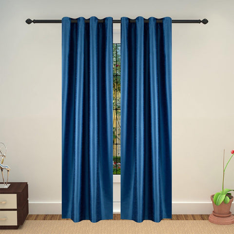 Lushomes Blue Art Silk Long Door Curtain with Polyester Lining - Lushomes