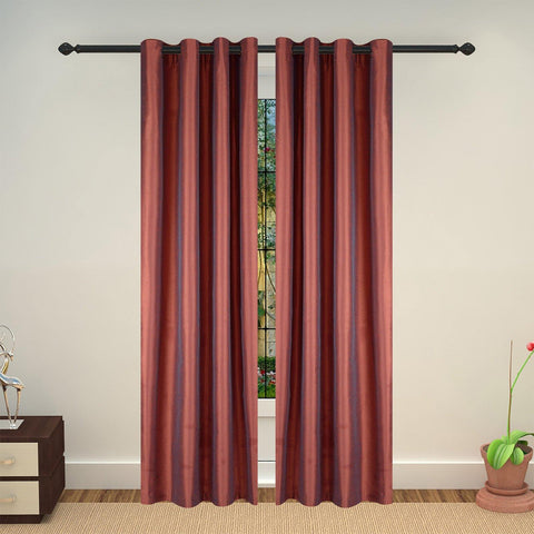 Lushomes Maroon Art Silk Long Door Curtain with Polyester Lining - Lushomes