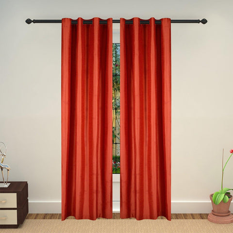 Lushomes Red Art Silk Long Door Curtain with Polyester Lining - Lushomes