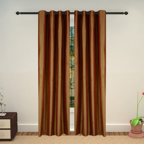 Lushomes Green Art Silk Long Door Curtain with Polyester Lining