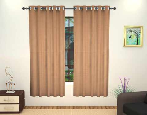 Lushomes Art Silk Polyester Lining Window Curtain - 5 feet, Beige - Lushomes