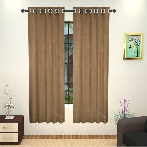 Lushomes Art Silk Polyester Lining Window Curtain - 5 feet, Brown