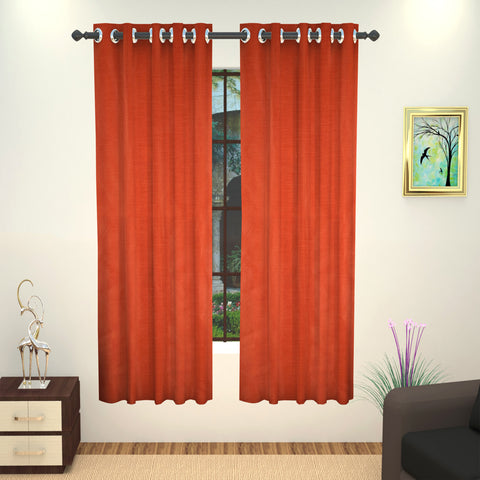 Lushomes Art Silk Polyester Lining Window Curtain - 5 feet, Red