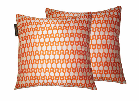 "Lushomes Orange Polyester Jacquard Cushion Covers 16"" x 16"" Pack of 2 - Lushomes"