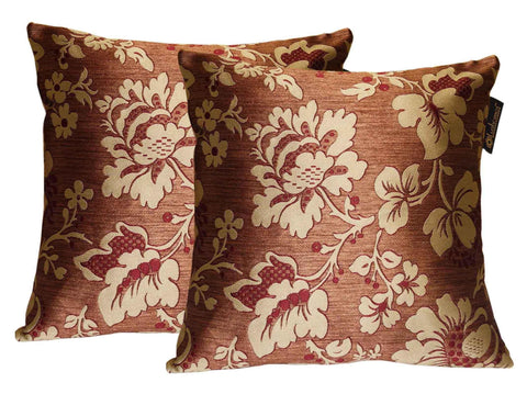 Lushomes Maroon Polyester Jacquard Cushion Covers Pack of 2 - Lushomes