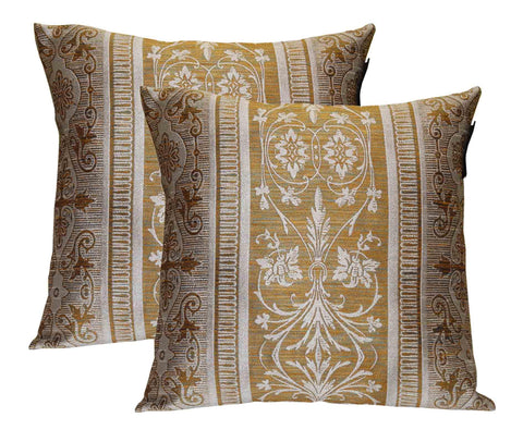 Lushomes Gold Polyester Jacquard Cushion Covers Pack of 2 - Lushomes