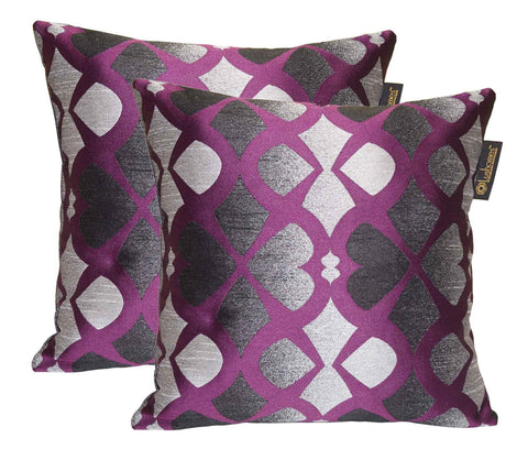 Lushomes Black & Purple Polyester Jacquard Cushion Covers Pack of 2 - Lushomes