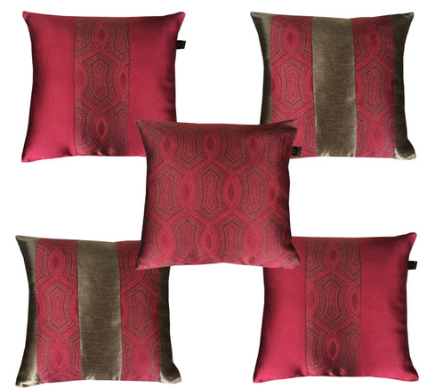 Lushomes Jacquard Red Design 1 Cushion Cover set for any celebration.(Pack of 5, 40 x 40 cms) - Lushomes