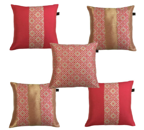 Lushomes Jacquard Hibiscus Design 1 Cushion Cover set for any celebration.(Pack of 5, 40 x 40 cms) - Lushomes