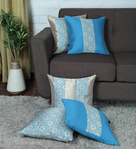 Lushomes Jacquard Campanula Design 1 Cushion Cover set for any celebration.(Pack of 5, 40 x 40 cms) - Lushomes