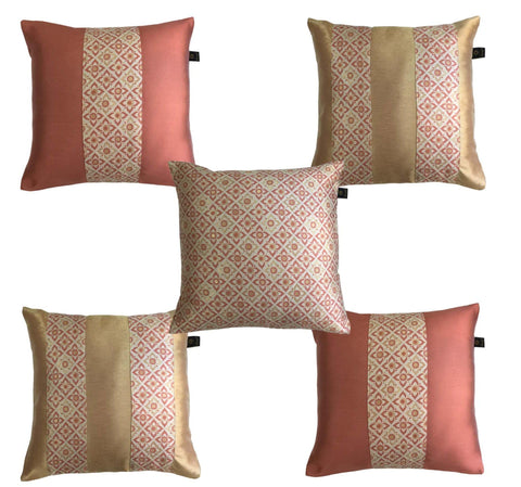 Lushomes Jacquard Orange Rust Design 1 Cushion Cover set for any celebration.(Pack of 5, 40 x 40 cms) - Lushomes