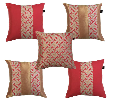 Lushomes Jacquard Hibiscus Design 2 Cushion Cover set for any celebration.(Pack of 5, 40 x 40 cms) - Lushomes