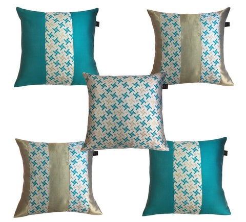Lushomes Jacquard Pepper Green Design 2 Cushion Cover set for any celebration.(Pack of 5, 40 x 40 cms) - Lushomes