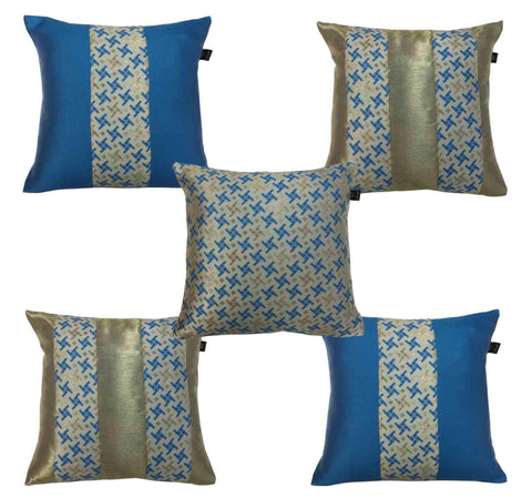 Lushomes Jacquard Campanula Design 2 Cushion Cover set for any celebration.(Pack of 5, 40 x 40 cms) - Lushomes