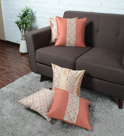 Lushomes Jacquard Orange Rust Design 2 Cushion Cover set for any celebration.(Pack of 5, 40 x 40 cms) - Lushomes