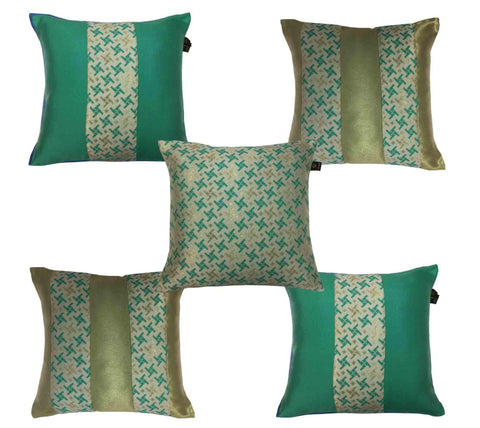 Lushomes Jacquard Dynasty Green Design 2 Cushion Cover set for any celebration.(Pack of 5, 40 x 40 cms) - Lushomes