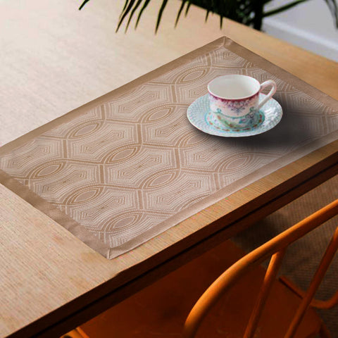 Lushomes Natural Jacquard Design 1 decorative Placemat Set of 6 pcs (Size: 13''x19'') - Lushomes