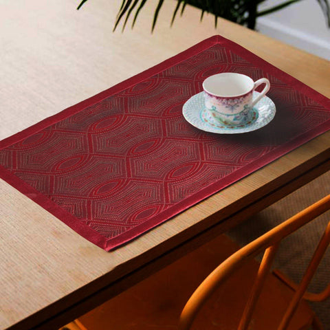Lushomes Red Jacquard Design 1 decorative Placemat Set of 6 pcs (Size: 13''x19'') - Lushomes