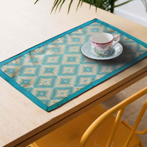 Lushomes decorative Light Blue Design 3 Jacquard Placemat Set of 6 pcs (Size: 13''x19'') - Lushomes