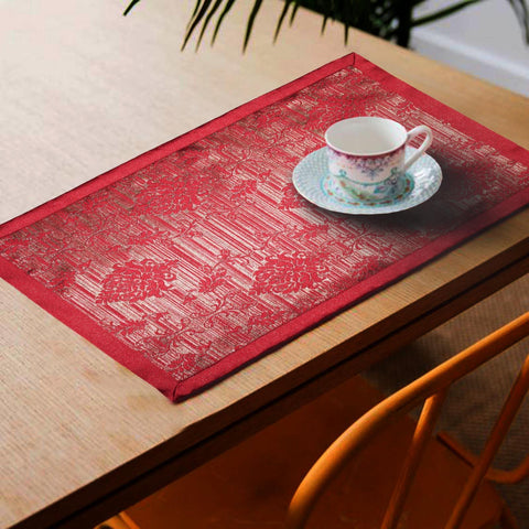 Lushomes Red Jacquard Design 2 decorative Placemat Set of 6 pcs (Size: 13''x19'') - Lushomes