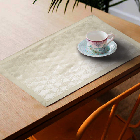 Lushomes Cream Jacquard Design 3 decorative Placemat Set of 6 pcs (Size: 13''x19'') - Lushomes