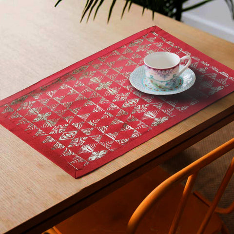 Lushomes Red Jacquard Design 3 decorative Placemat Set of 6 pcs (Size: 13''x19'') - Lushomes