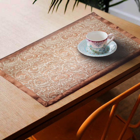 Lushomes Rust Jacquard Design 4 decorative Placemat Set of 6 pcs (Size: 13''x19'') - Lushomes