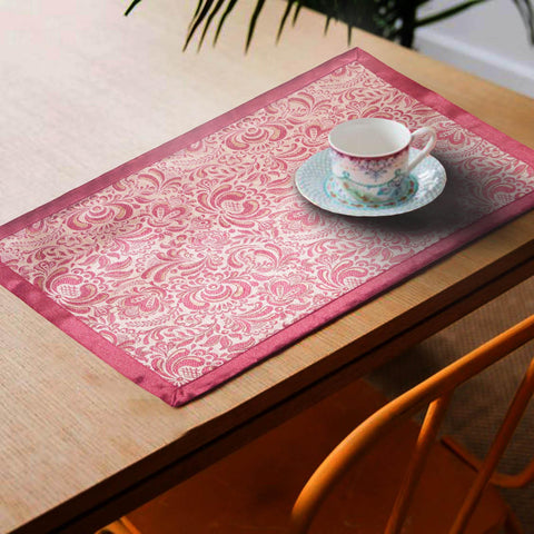 Lushomes Pink Jacquard Design 4 decorative Placemat Set of 6 pcs (Size: 13''x19'') - Lushomes