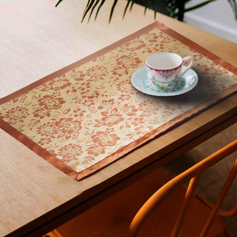 Lushomes Rust Jacquard Design 3 decorative Placemat Set of 6 pcs (Size: 13''x19'') - Lushomes