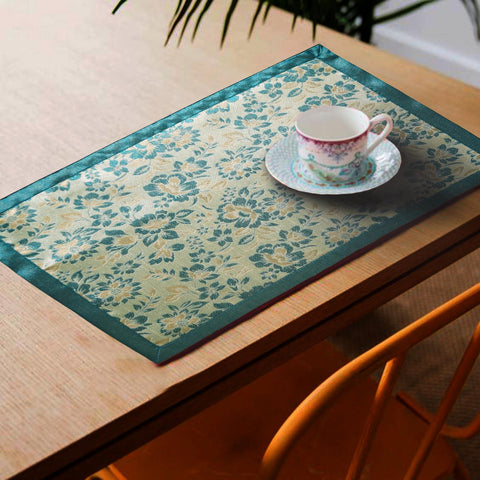 Lushomes Blue Jacquard Design 3 decorative Placemat Set of 6 pcs (Size: 13''x19'') - Lushomes