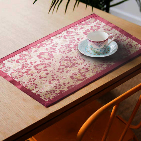 Lushomes Pink Jacquard Design 3 decorative Placemat Set of 6 pcs (Size: 13''x19'') - Lushomes