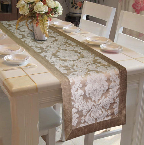 Lushomes Silver Jacquard Runner with High Quality Polyester Border - Lushomes