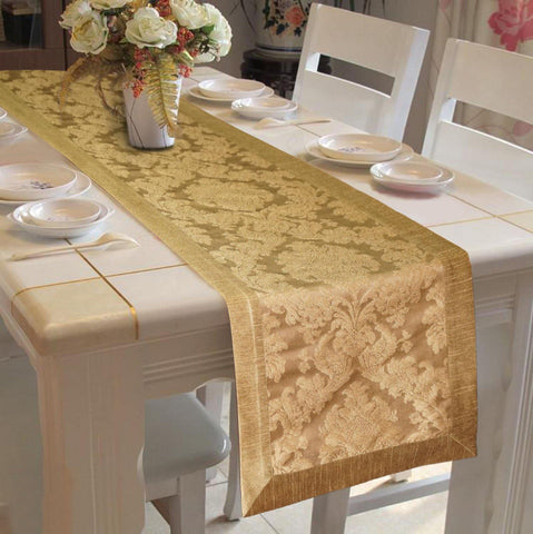 Lushomes Gold Jacquard Runner with High Quality Polyester Border - Lushomes