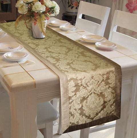 Lushomes Natural Jacquard Runner with High Quality Polyester Border - Lushomes