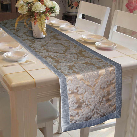 Lushomes Warm Silver Jacquard Polyester Runner with High Quality Polyester Border - Lushomes