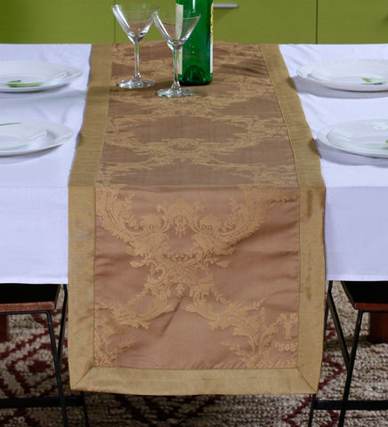 "Lushomes Gold Pattern 1 Jacquard Table Runner with High Quality Polyester Border (Size: 16""x72""), single piece - Lushomes"